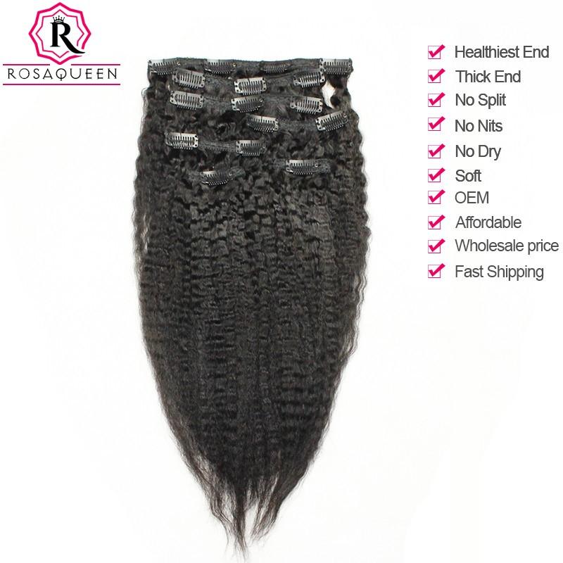 Kinky Straight Brazilian Virgin Hair Clip In Human Hair Extensions
