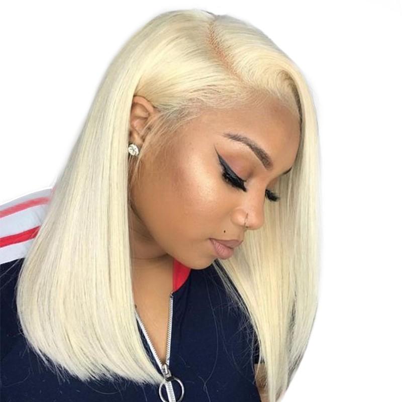 3832006b2a5 Human Hair Wigs 613# Straight Colorful Short Bob Brazilian Virgin Hair For  Black Women Glueless Lace front ...
