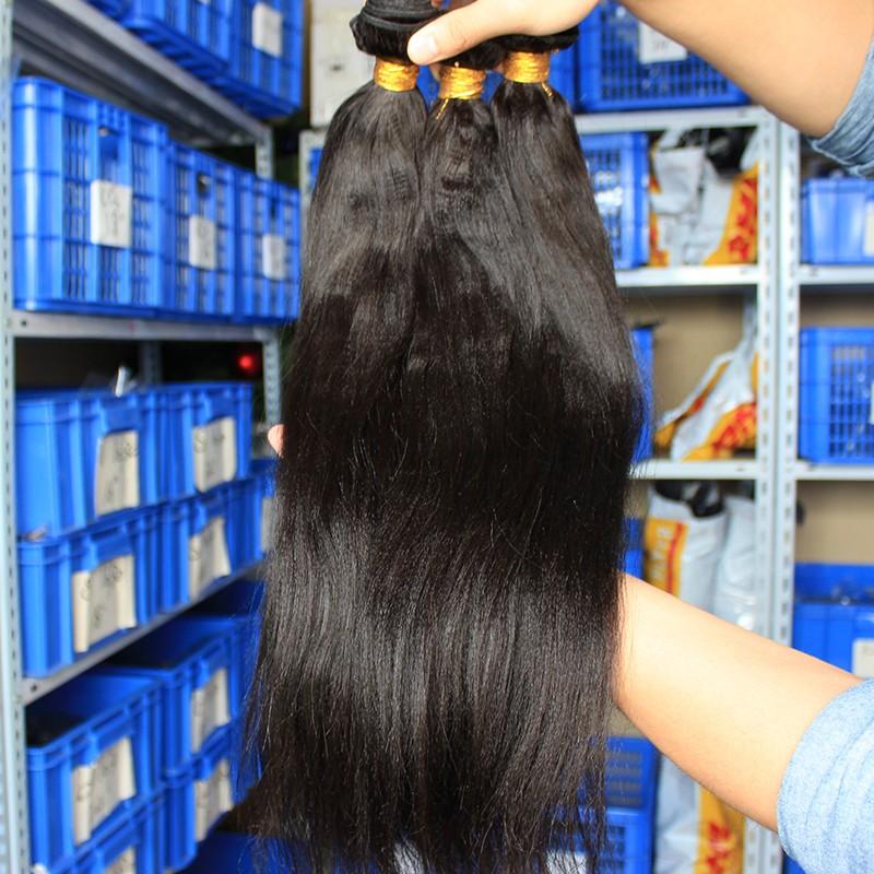 Natural Color Italian Yaki Brazilian Virgin Human Hair Weave 3pcs
