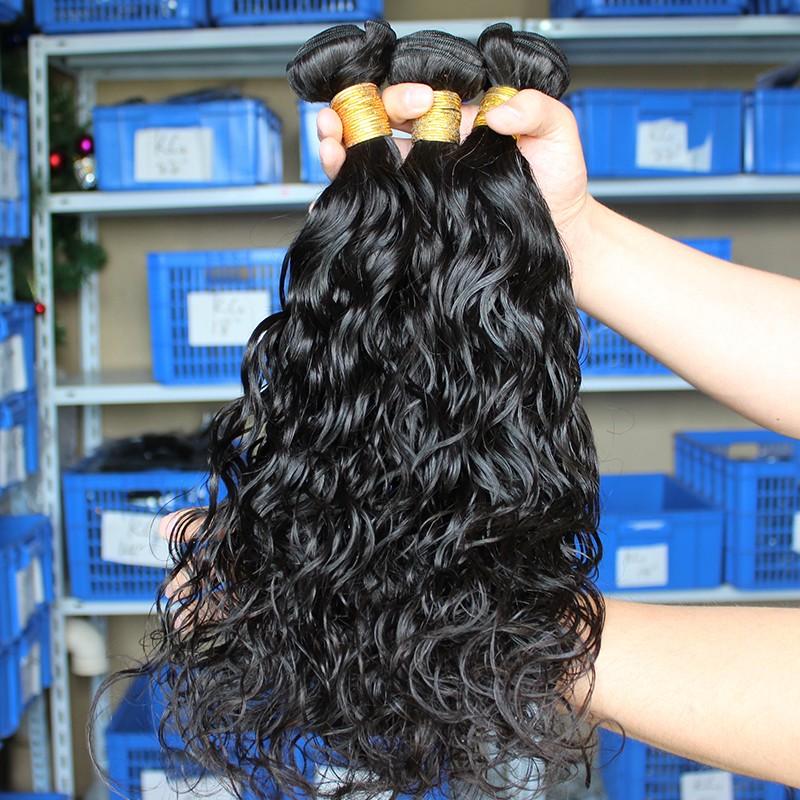 European Virgin Human Hair Water Wave Hair Weave Natural Color 3