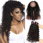 360 Lace Frontal Closure Brazilian Virgin Hair Deep Wave Curly 360 Circle Lace Frontal With Two Bundles