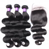 Brazilian Virgin Human Hair 3 Bundles Hair With 1 Lace Closure Natural Color Body Wave