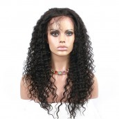 Natural Color Deep wave Brazilian Virgin Human Hair Glueless Full Lace Wigs