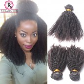 Brazilian Virgin Human Hair Afro Kinky Curly Hair Weave 3 Bundles Natural Color