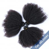Natural Color Mongolian Afro Kinky Curly Virgin Human Hair Weave 3 Bundles