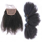 Brazilian Virgin Hair Afro Kinky Curly Lace Closure with 3pcs Weaves