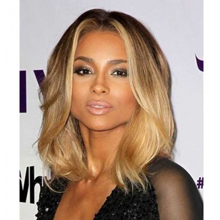Ciara Inspired Ombre Blonde Color Wavy Short Bob Lace Front Human Hair Wigs Rosaqueenhair