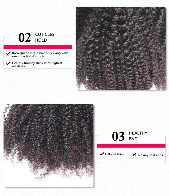 Natural Color Brazilian Virgin Human Hair Afro Kinky Curly Hair